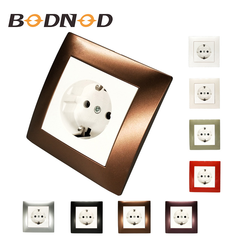 Wall socket singel Socket withearth with brown color frame European standard DIY Socket  16A 250V DecorativeWall socket singel Socket withearth with brown color frame European standard DIY Socket  16A 250V Decorative