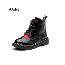 Фотография AAdct 2017 Fashion children shoes Brand High quality girls boots British style All-match soft sole rubber kids boots for girls