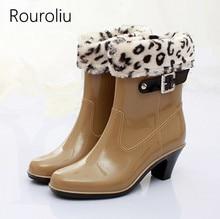 New Hot Women Fashion High Heels Pointed Toe Rain Boots Mid-calf Buckle Rainboots Waterproof Woman Water Shoes Warm Socks #TR140 laite hebe 2017 new women tall rain boots ladies low hoof heels waterproof graffiti buckle high nubuck round toe rainboots lh203
