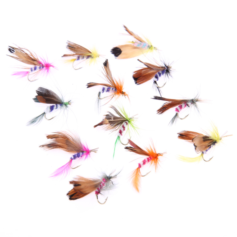 12pcs/lot Fly Fishing Lure Set Style Insect Artificial Fishing Bait Feather Single Hooks Carp Fish Lure salmon