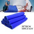 10pcs 30*70cm Blue Soft Absorbent car wash towel car Cache towels waxing towel Cleaning cloth household kitchen Cleaning Towels