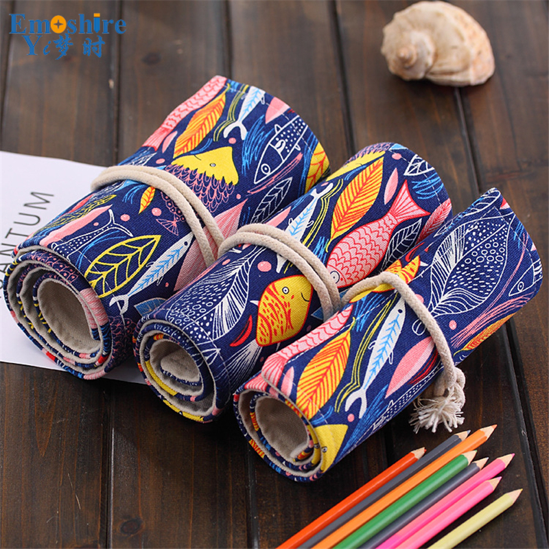 36/48/72 Holes Pencil Case for School Fish Canvas Pouch Makeup Comestic Brush Pen Storage Pencil Case School Pecncil Box B158 36 48 72 holes pencil case for school fish canvas pouch makeup comestic brush pen storage pencil case school pecncil box b158