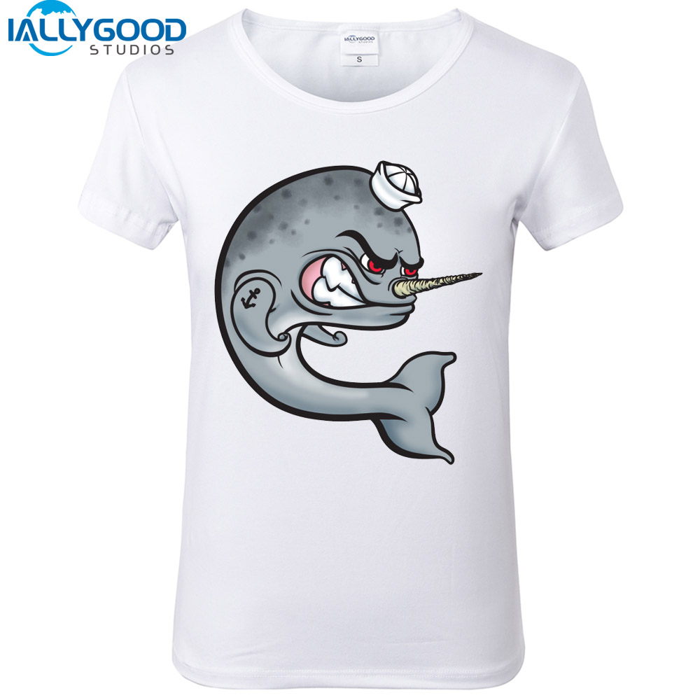 2017 New SUmmer Funny Narwhal T-Shirts Women Cotton 3D Paint Angry Narwhal T shirts Soft Cotton Women White Tops S628