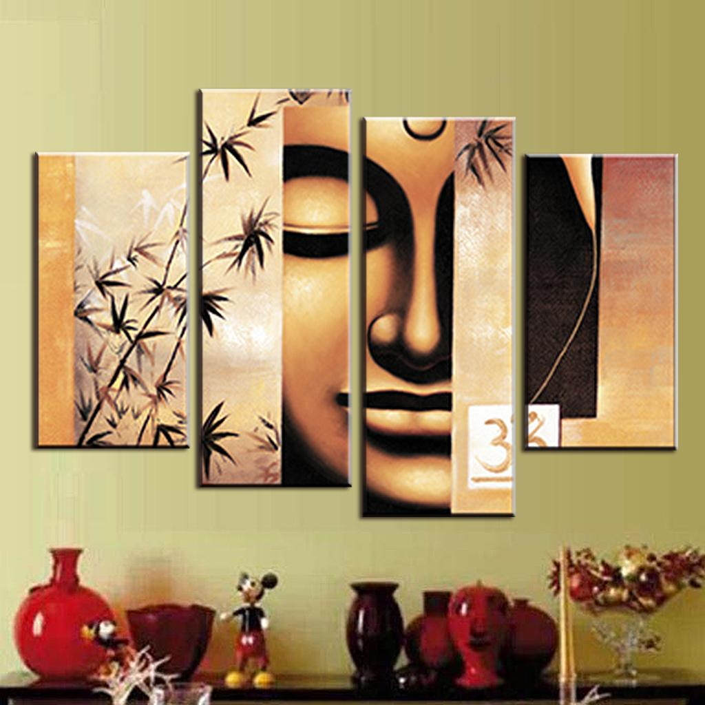 4 Pcs/Set Still Life Buddha Canvas Print Painting Retro Classical ...