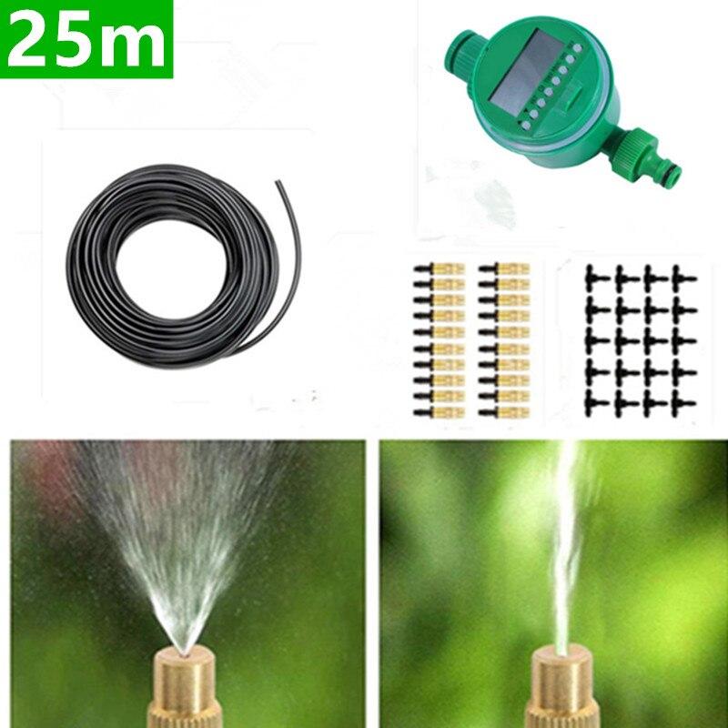 25 m Micro Irrigation goutte à goutte avec minuterie usine auto arrosage en laiton réglable brumisateur arroseur jardin eau Kits d'irrigation BC06