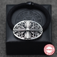 S925 Sterling Silver Headband Personality Retro Models Hip Hop Punk Style Cross Army Flower Hair Accessories
