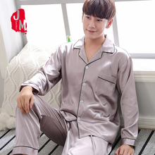 2018 Homewear Men Pajama Set Summer Solid Long Sleeve Two-Piece Silk Sleepwear For Men Suit Sleep Silk Pyjama Man Plus Size XXXL