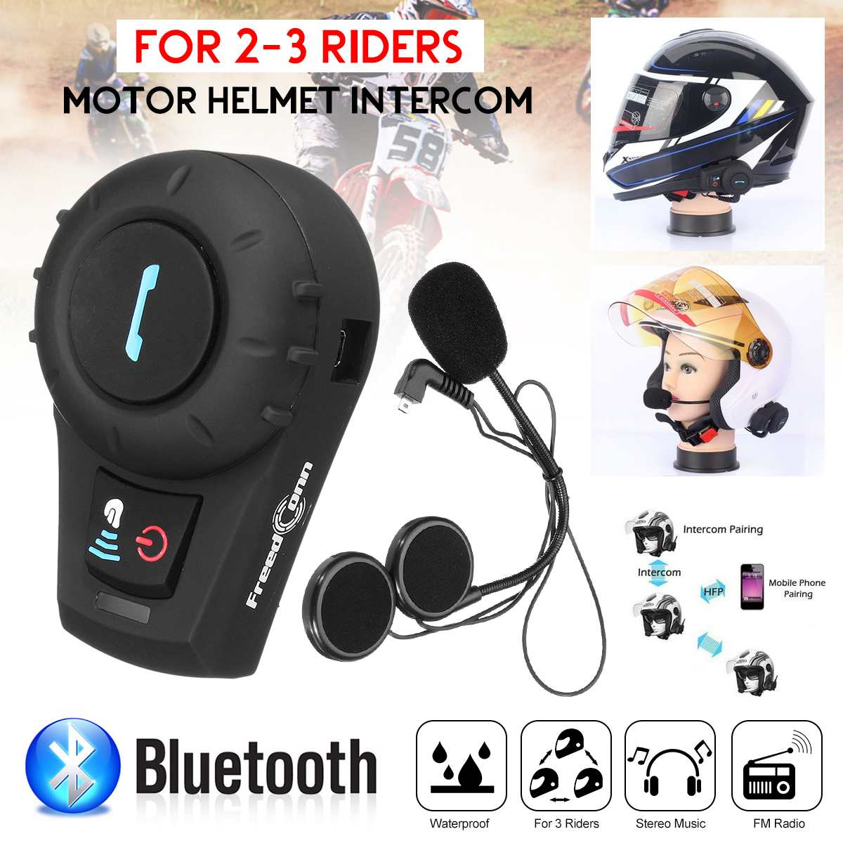 Motorcycle Helmet Intercom Up To 500M Distance  Headset BT Interphone With Bluetooth Function EU Or US Plug