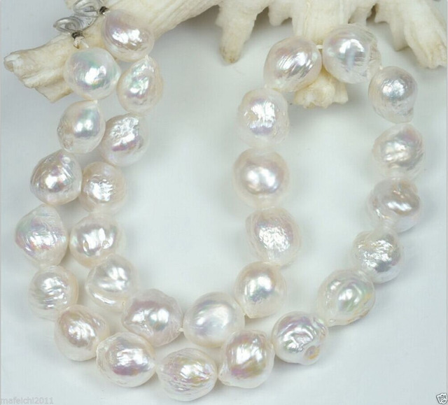 "NATURAL 11-12MM Australian south seas kasumi white pearl necklace 18"" silver"