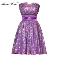 Moaayina滑走路ファッションデザイナー紫色メッシュストラップレスドレス夏女性イブニングパーティーセクシーなスパンコールボールガウンミニドレ