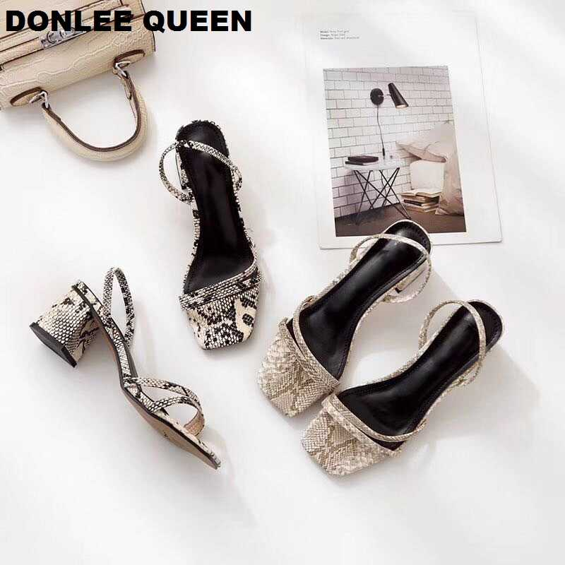 DONLEE QUEEN Ankle Wrap Sandals Women Med Heel Snake Skin Sandal Slipper Slip On Slides Runway Shoes Zapatos De Mujer Dress Shoe