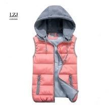 Женский пуховый жилет с воротником из хлопка и шерсти, съемный капюшон,, высокое качество, брендовая Новинка, женская зимняя теплая куртка и верхняя одежда, утепленная