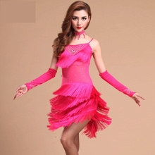 2017 new rose gold red fringed tassel sequin women stage performance dress  latin dance costumes adult ad0ee63a5ab2