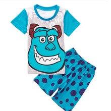 Character boys pijamas 2017 Summer Cotton Boy Pajamas set Cute Children clothes 2T-7T