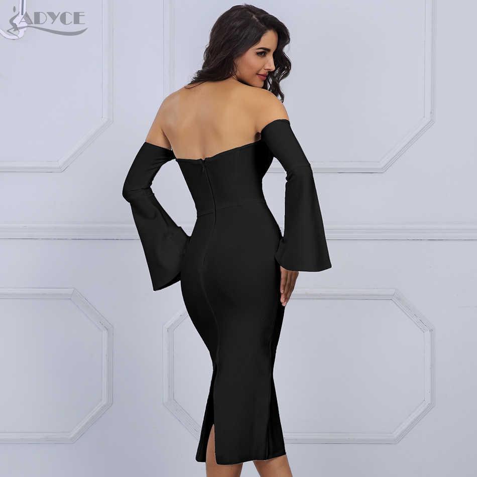 6a8acd4557c9 ... Adyce 2019 New Summer Women White Bandage Dress Elegant Celebrity Evening  Party Dress Sexy Flare Sleeve ...