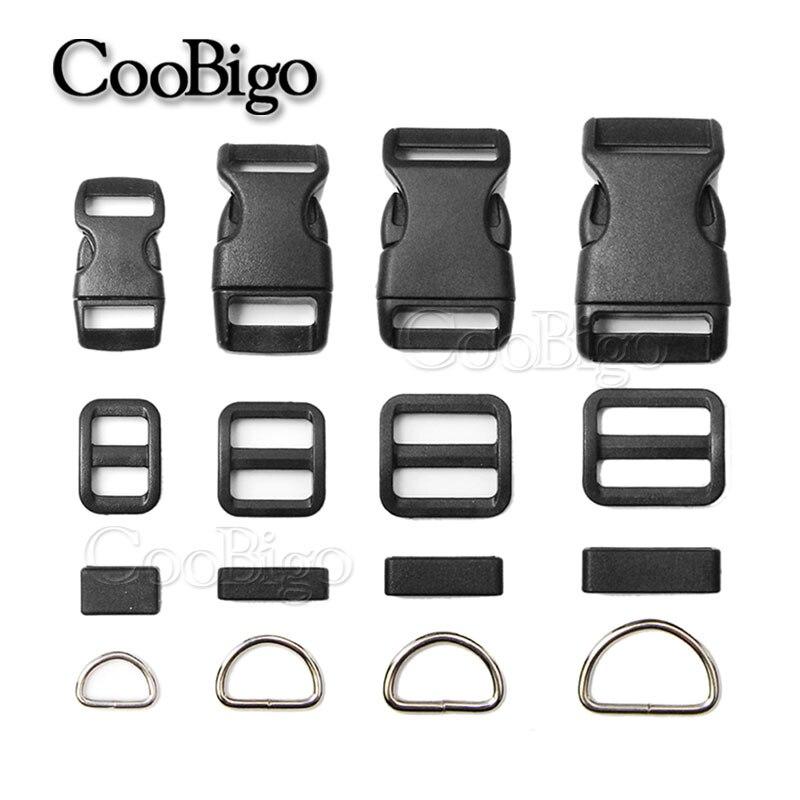 10sets Pack 3/8 5/8 3/4 1 Side Release Buckle D Ring Tri-glides Slider Adjustable Buckle For Dog Collar Backpack Bag Parts Home & Garden