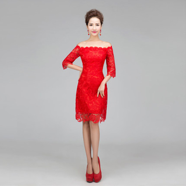 Elegant Half Sleeve Lace Bridesmaid Dress Red Wedding Party Dress