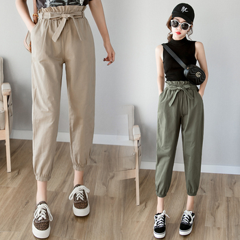 Women pants female high waist solid loose harem pant Pants & Capris