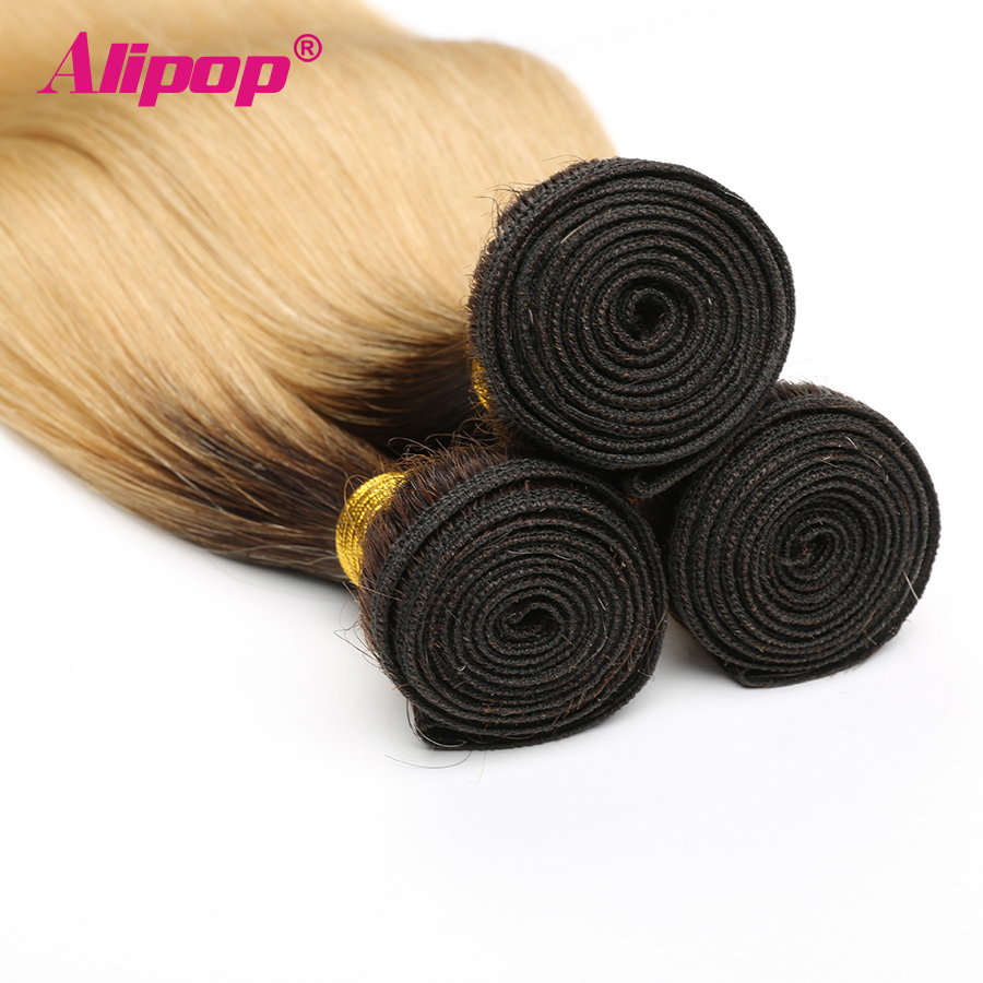T1B 613 Bundles Brazilian Hair Straight Human Hair 3 4 Bundles Dark Roots Blonde Bundles Ombre Non Remy Hair Extensions ALIPOP (3)