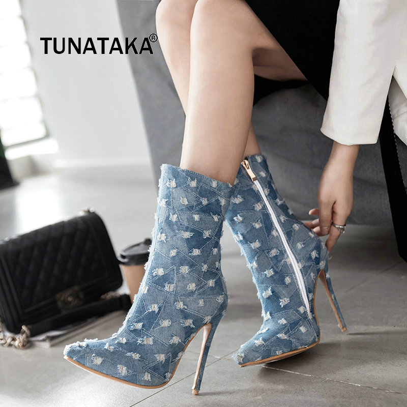 Women Denim Sexy Thin High Heel Pointed Toe Ankle Boots Fashion Side Zipper Winter Shoes Blue gaozze autumn ankle boots for women 2017 new sexy thin high heeled boots women side zipper fashion pointed toe shoes red boots