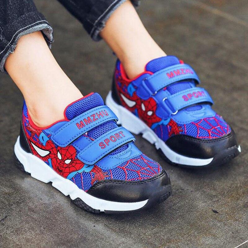 Children Cartoon Shoes Boys Sports Shoes Wearable Non-slip Wear Running Sneaker Kids Spider Man Sneakers