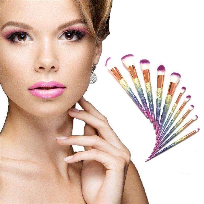 10pcs 3D Colorful Makeup Brushes Set Multipurpose Beauty Cosmetic Puff Blending Eyeshadow Powder Foundation Cosmetics Brush Kit bob cosmetic makeup powder w puff mirror ivory white 02