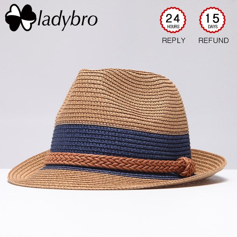 Ladybro Summer Jazz Women Straw Hat Beach Men Sun Hat Casual Panama Male Cap Hemp Rope Patchwork Striped Straw Hat Visor Cap