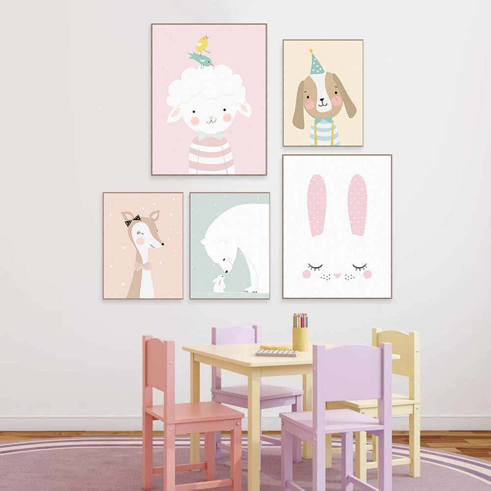 Kindergarten Decoration Painting Pink  Wall Art Canvas Pictures for Living Room Anime Poster Sheep Rabbit Cow Duck Dog