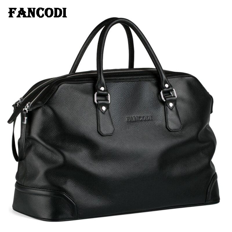 2018 Fashion Men Leather Travel bag Genuine Leather Luggage Bag Men Duffle Bag Overnight Weekend Shoulder