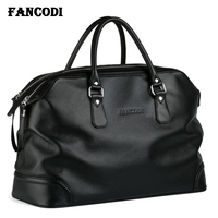 2018 Fashion Men Leather Travel bag Genuine Leather Luggage Bag Men Duffle Bag Overnight Weekend Shoulder Bag Tote handbag Black