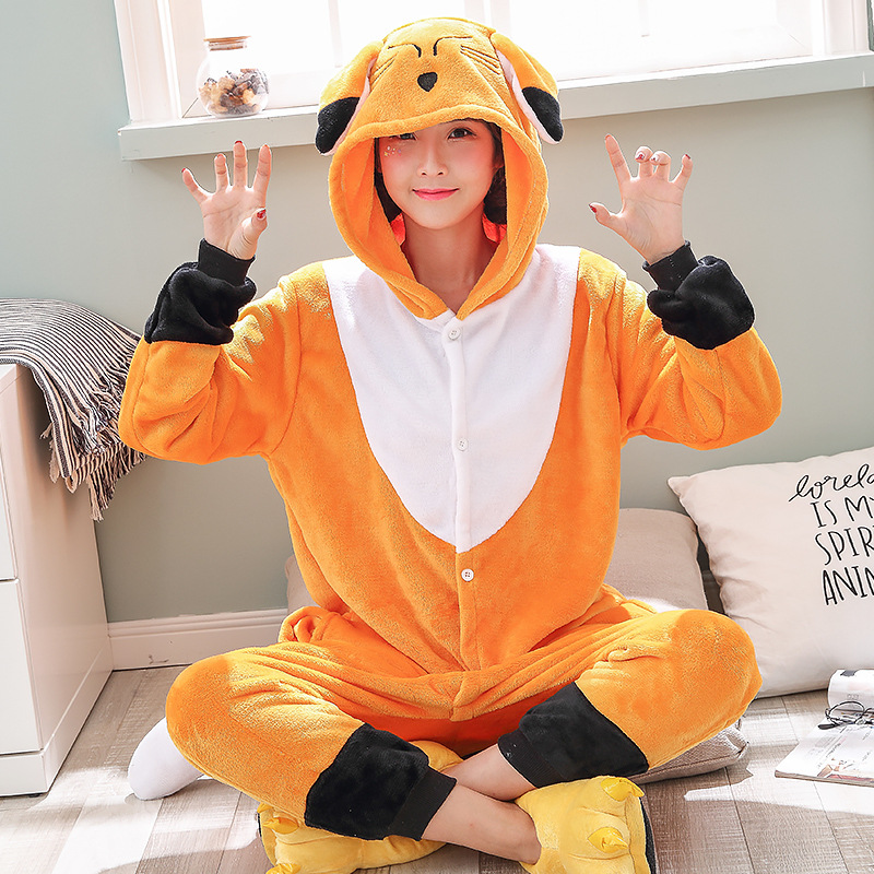 Kawaii Fox Kigurumi Onesie Animal Cartoon Sleepwear Pajama Orange White Soft Onepiece Adult Women Winter Suit Festival Outfit (3)