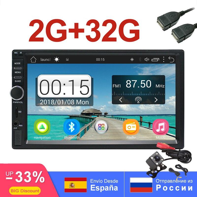 2Din lecteur multimédia de voiture 2G + 32G GPS Audio vidéo Android autoradio stéréo MP3 MP5 WiFi Bluetooth autoradio 7