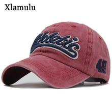 Xlamulu Washed Cotton Men Baseball Cap Snapback Hats For Women Embroidery Baseball Hat Letter Bone Gorras Casquette Male Hat Cap