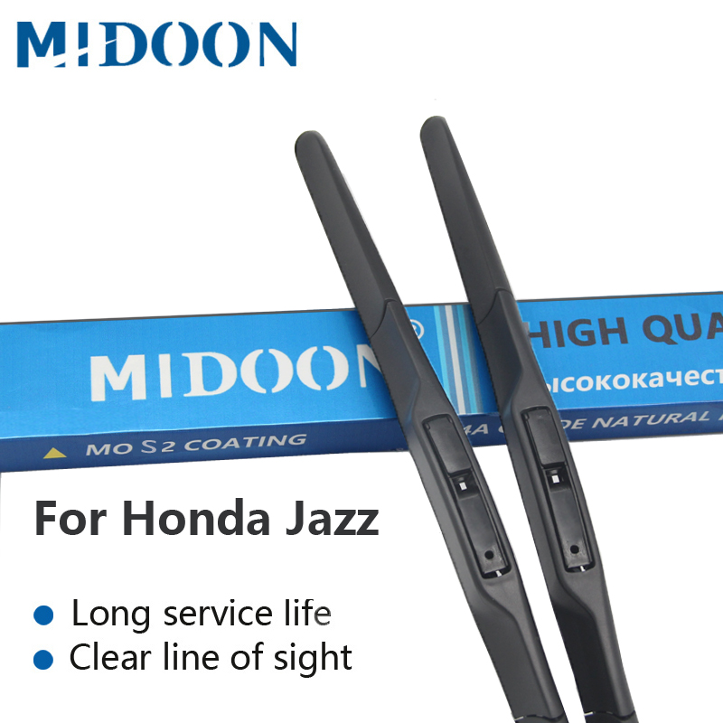 MIDOON Windshield Escovas De Borracha Laminas de limpador híbridas para Honda Jazz fit Gancho Braços Modelo Ano de 2002 a 2016