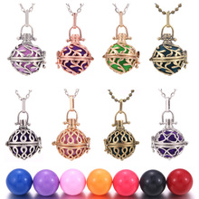 1pcs Mexico Chime Music Ball Caller Locket Necklace Vintage Pregnancy Necklace for Aromatherapy Essential Oil Pregnant Women mexico chime music bell angel ball caller locket necklace flower pregnancy necklace perfume aromatherapy essential oil necklace