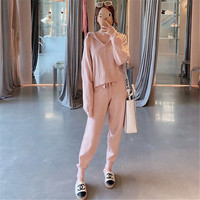 2019 Spring Fashion Knitted Hooded top+Pants Women Two Piece Sets Solid Slim Tracksuit Sweatshirts Sporting Suit Female