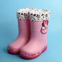 Garçons Filles Plus de Velours Chaud Bottes de Pluie Enfants Non-Slip Bébé Neige Bottes Coton Chaussures de Bande Dessinée 2017 Nouvelle Mode enfants Rainboots