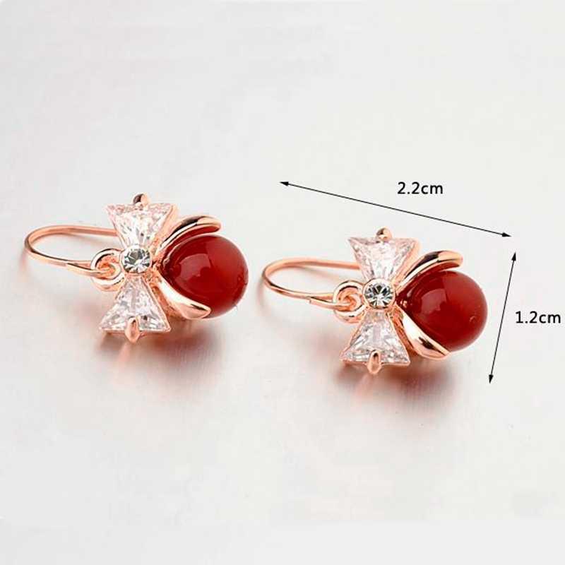 MIGGA romantique Zircon cristal noeud papillon boucles d'oreilles pour les femmes rouge Imitation perle boucles d'oreilles Brincos bijoux