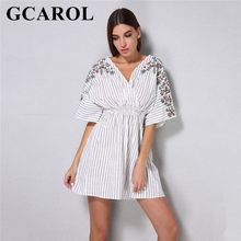 ce4e3b4e2 GCAROL 2018 nuevo V cuello verano bordado Floral rayas vestido de algodón y  lino elástico cintura Bohemia estilo vestido de call.