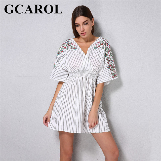 GCAROL New V Neck Summer Embroidered Floral Striped Dress Cotton&Linen Elastic Waist Bohemian Style High Street Dress
