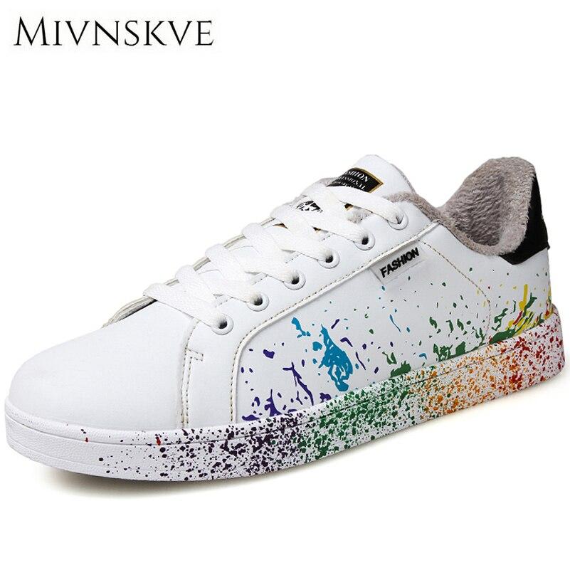 MIVNSKVE Autumn Winter Men's Shoes Fur(No Fur) 2 style Fashion Warm Casual Shoes Men Sneakers Unisex White Shoes Plus size 35-46