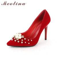 Meotina Frauen Schuhe Stiletto High Heels Pumps Hochzeit Brautschuhe Rot perlen Reizvolle Absatzschuhe der Spitzen Zehe Pumpt Große Größe 42