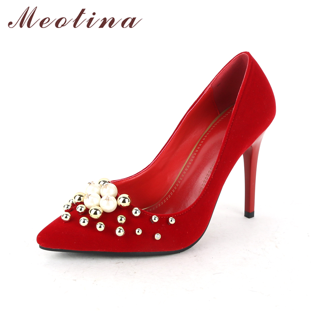 Meotina Women Shoes Stiletto High Heels Pumps Wedding Bridal Shoes Red Pearls Sexy High Heel Shoes Pointed Toe Pumps Big Size 42 стол компьютерный васко кс 2033 м3 дуб беленый