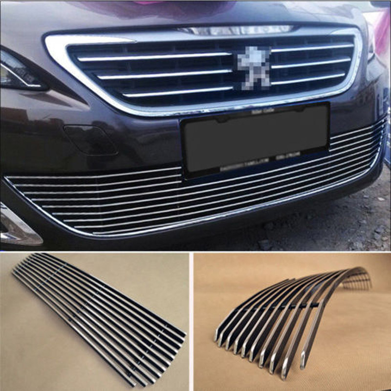Alloy Aluminium Front Center Racing Mesh Bumper Grills Billet Grille Cover For Peugeot 408 2014