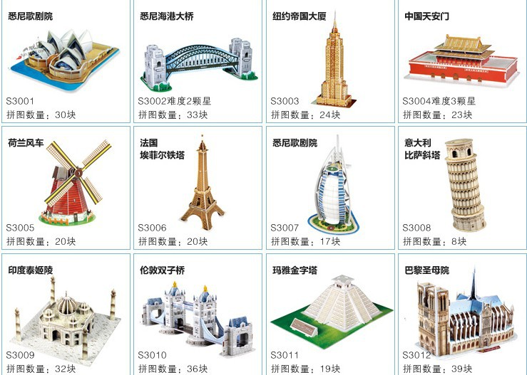 Free shipping 16 type can choose 3d jigsaw puzzle world for Best type of architecture
