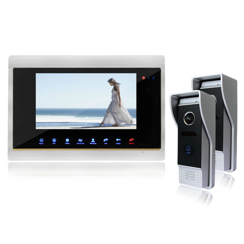 Homefong  Touch Screen 7 Video Door Phone Doorbell Intercom Kit Support SD card Picture Record 2 Camera To 1 Monitor сумка foreign trade pelle club brand pelle club