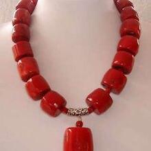 """Изумительные красные цилиндрические коралловые бусы, модное ювелирное ожерелье 1"""", браслет, серьги, хорошее ювелирное изделие для женщин"""