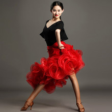 black red woman latin dance dress to dance women latin dress fringe tango dress Latina salsa dress tango dancewear top skrit