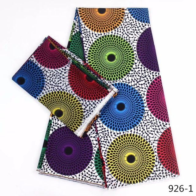 Hot Sale African Wax Prints Fabric Silk Satin Chiffon Fabric 4+2 Yards African Ankara Fabric Prints Audel Fabric 926