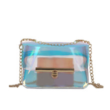 hot deal buy fashion laser holographic shoulder bags women transparent bag pvc jelly mini tote messenger ladies shoulder chain bags